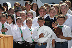 A group of 4-Hers listen to the National Anthem during the ribbon-cutting ceremony at the NV150 Fair at Fuji Park, in Carson City, Nev., on Thursday, July 31, 2014.<br /> Photo by Cathleen Allison