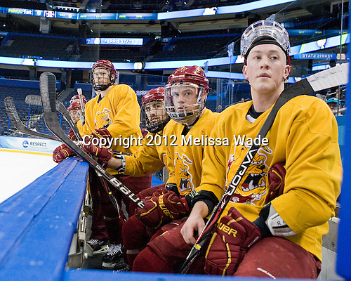 Derek Graham (FSU - 22), ?, Kyle Bonis (FSU - 28), TJ Schlueter (FSU - 12) - The Ferris State University Bulldogs practiced on Wednesday, April 4, 2012, during the 2012 Frozen Four at the Tampa Bay Times Forum in Tampa, Florida.