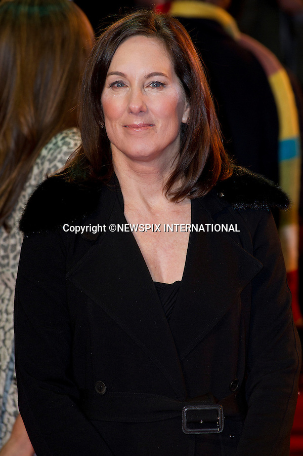 "WARHORSE ROYAL PREMIERE. Kathleen Kennedy..Catherine, The Duchess of Cambridge attends her first Royal Premiere for the UK Premiere of Warhorse.The Duchess was accompanied by the Duke of Cambridge, Prince William_08/01/2012..Mandatory Photo Credit: ©Dias/Newspix International..**ALL FEES PAYABLE TO: ""NEWSPIX INTERNATIONAL""**..PHOTO CREDIT MANDATORY!!: NEWSPIX INTERNATIONAL(Failure to credit will incur a surcharge of 100% of reproduction fees)..IMMEDIATE CONFIRMATION OF USAGE REQUIRED:.Newspix International, 31 Chinnery Hill, Bishop's Stortford, ENGLAND CM23 3PS.Tel:+441279 324672  ; Fax: +441279656877.Mobile:  0777568 1153.e-mail: info@newspixinternational.co.uk"