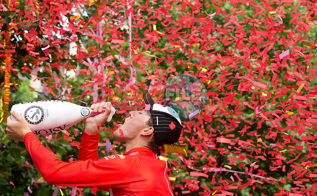 Giacomo Nizzolo (ITA) Trek Factory Racing celebrates after winning the sprint jersey Maglia Rossa at the end of the final Stage 21 of the 98th Giro d'Italia 2015, running 178km from Turin to Milan. 31st May 2015. <br /> Photo: ANSA/Claudio Peri/www.newsfile.ie