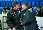 St Johnstone v Celtic...18.12.11   SPL .Tommy Wright and Neil Lennon hug before kick off.Picture by Graeme Hart..Copyright Perthshire Picture Agency.Tel: 01738 623350  Mobile: 07990 594431