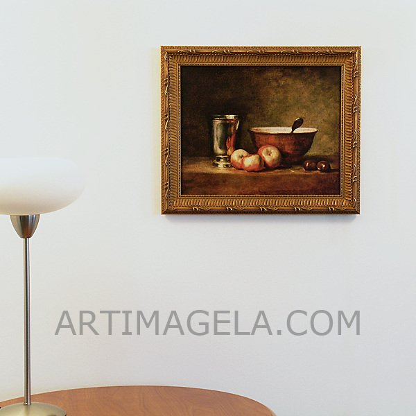 "Chardin: ""The Silver Goblet"", Digital Print, Image Dims. 13"" x 16"", Framed Dims. 16"" x 19.5"""