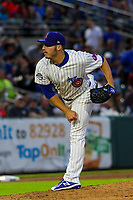 Iowa Cubs pitcher Brad Markey (12) delivers a pitch during a Pacific Coast League game against the Colorado Springs Sky Sox on June 22, 2018 at Principal Park in Des Moines, Iowa. Iowa defeated Colorado Springs 4-3. (Brad Krause/Four Seam Images)