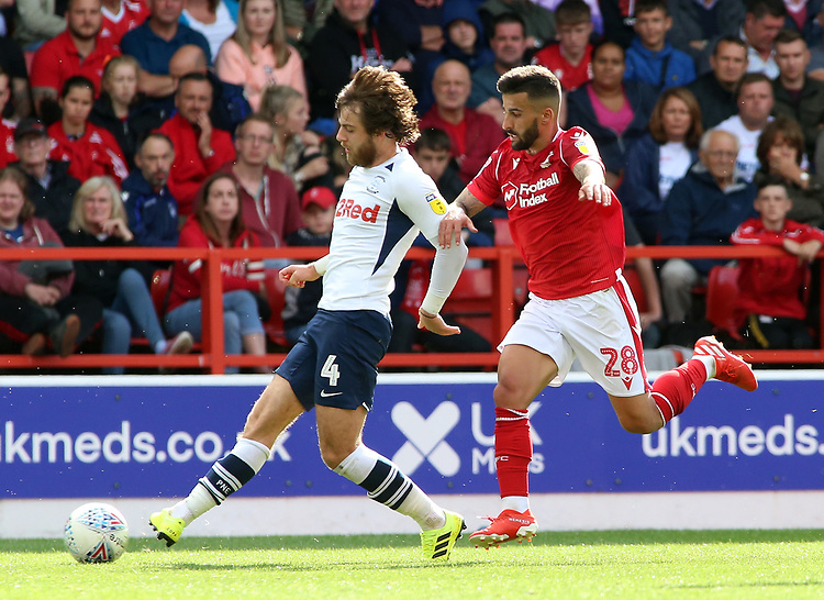 Nottingham Forest's Tiago Silva chases down Preston North End's Ben Pearson<br /> <br /> Photographer David Shipman/CameraSport<br /> <br /> The EFL Sky Bet Championship - Nottingham Forest v Preston North End - Saturday 31st August 2019 - The City Ground - Nottingham<br /> <br /> World Copyright © 2019 CameraSport. All rights reserved. 43 Linden Ave. Countesthorpe. Leicester. England. LE8 5PG - Tel: +44 (0) 116 277 4147 - admin@camerasport.com - www.camerasport.com