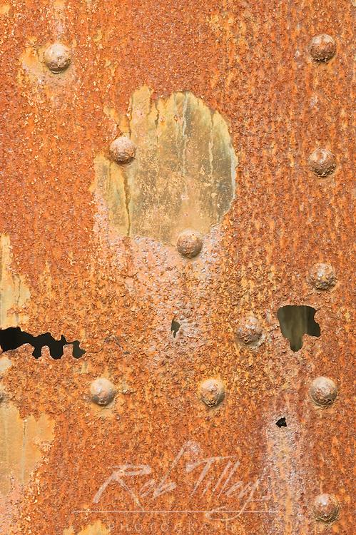 USA, OR, Fort Stevens SP, Rusty Steel Door