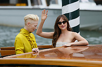VENICE - September 1: Tilda Swinton and Dakota Johnson on September 1, 2018 in Venice, Italy.(By Mark Cape/Insidefoto)