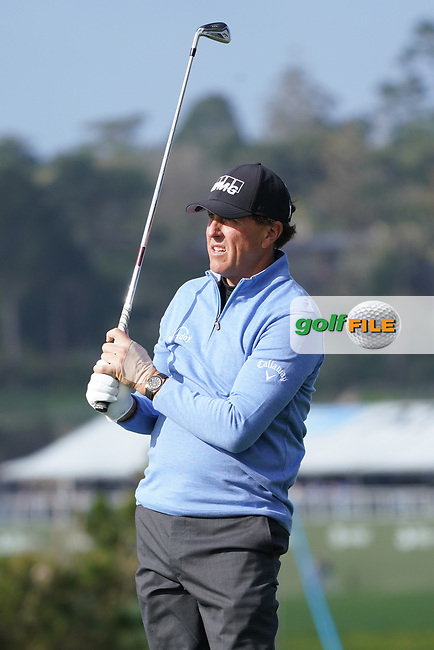 Phil Mickelson (USA) in action during the third round of the AT&T Pro-Am, Pebble Beach, Monterey, California, USA. 07/02/2020<br /> Picture: Golffile | Phil Inglis<br /> <br /> <br /> All photo usage must carry mandatory copyright credit (© Golffile | Phil Inglis)