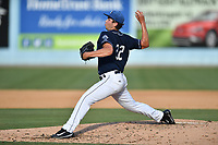Asheville Tourists starting pitcher Riley Pint (32) delivers a pitch during a game against the Rome Braves at McCormick Field on June 24, 2017 in Asheville, North Carolina. The Tourists defeated the Braves 6-5. (Tony Farlow/Four Seam Images)