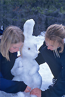 Fifth grade students making snow bunny. Cascade Science School, Oregon.