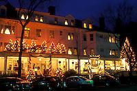 Stockbridge, Inn, Berkshires, Massachusetts, Christmas lights decorate the Red Lion Inn at night in Stockbridge in the state of Massachusetts.