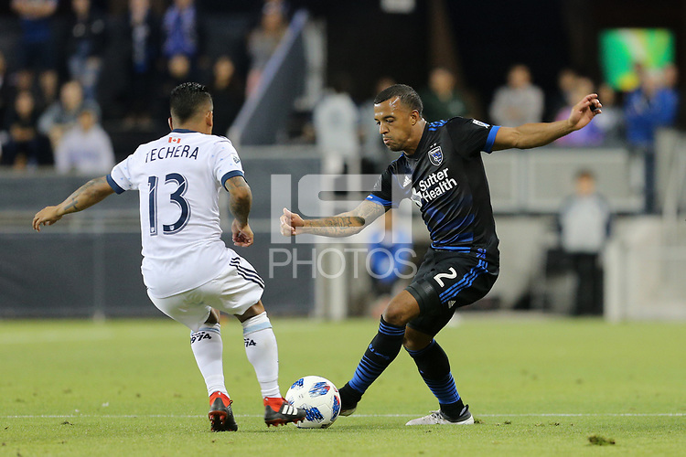 San Jose, CA - Saturday August 25, 2018: Cristian Techera, Joel Qwiberg during a Major League Soccer (MLS) match between the San Jose Earthquakes and Vancouver Whitecaps FC at Avaya Stadium.