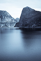 Reflections in the Hetch Hetchy reservior from the water of the Tuolumne River