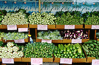 Fresh produce on display at a market.