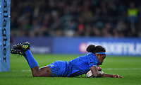 28th December 2019; Twickenham, London, England; Big Game 12 Womens Rugby, Harlequins versus Leinster; Linda Djougang of Leinster goes over and scores a try - Editorial Use