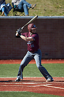 Adam Linkous (24) of the Concord Mountain Lions at bat against the Wingate Bulldogs at Ron Christopher Stadium on February 2, 2020 in Wingate, North Carolina. The Mountain Lions defeated the Bulldogs 12-11. (Brian Westerholt/Four Seam Images)