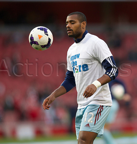 15.04.2014.  London, England. Ricardo Vaz Té of West Ham United warming up before the Barclays Premier League match between Arsenal and West Ham from the Emirates Stadium.
