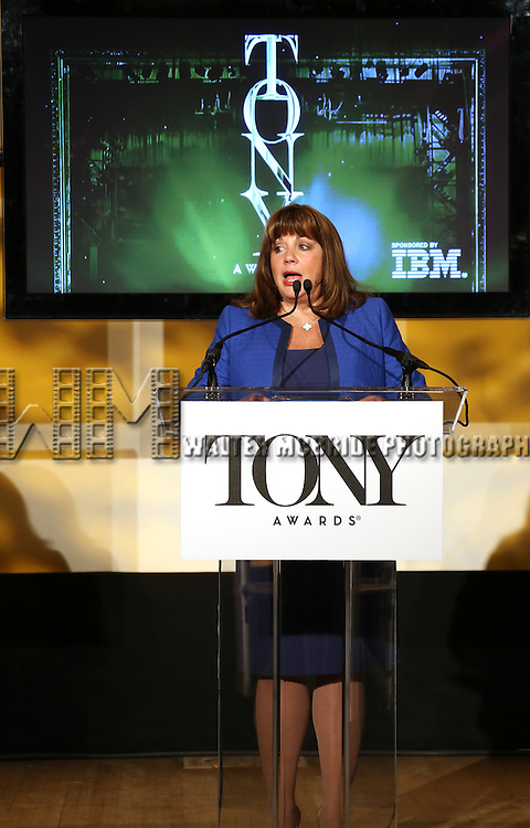 Charlotte St. Martin ( Executive Director, The Broadway League) announces the 2013 Tony Award Nominations at The New York Public Library for Performing Arts in New York on 4/30/2013...