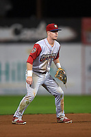 Williamsport Crosscutters shortstop Dylan Bosheers (17) during a game against the Batavia Muckdogs on August 28, 2015 at Dwyer Stadium in Batavia, New York.  Batavia defeated Williamsport 6-0.  (Mike Janes/Four Seam Images)