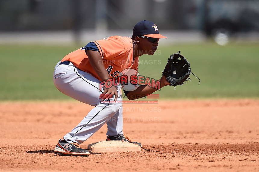 Houston Astros infielder Juan Santana (23) during a minor league spring training game against the Detroit Tigers on March 21, 2014 at Osceola County Complex in Kissimmee, Florida.  (Mike Janes/Four Seam Images)