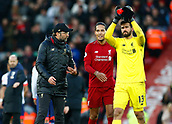 9th February 2019, Anfield, Liverpool, England; EPL Premier League football, Liverpool versus AFC Bournemouth; Liverpool manager Jurgen Klopp with Virgil van Dijk and Alisson Becker after the final whistle