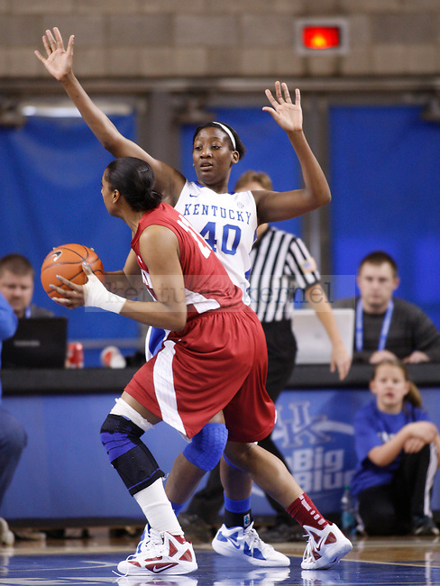 UK forward Brittany Henderson guards Alabama's Kyra Crosby during the second half of the UK Women's basketball game against Alabama on 1/29/12 at Memorial Coliseum in Lexington, Ky. Photo by Quianna Lige | Staff