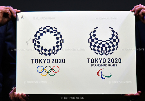 April 25, 2016, Tokyo, Japan - Stark indigo-and-white checkered circles, designed by Asao Tokolo, have officially become the emblem for the 2020 Tokyo Olympics and Paralympics on Monday, April 25, 2016, in Tokyo. The original emblems designed by Kenjiro Sano was scrapped amid accusations of plagiarism last year.  (Photo by Natsuki Sakai/AFLO) AYF -mis-