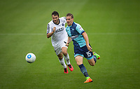 Dayle Southwell of Wycombe Wanderers & Nick Arnold of Aldershot Town during the pre season friendly match between Aldershot Town and Wycombe Wanderers at the EBB Stadium, Aldershot, England on 22 July 2017. Photo by Andy Rowland.
