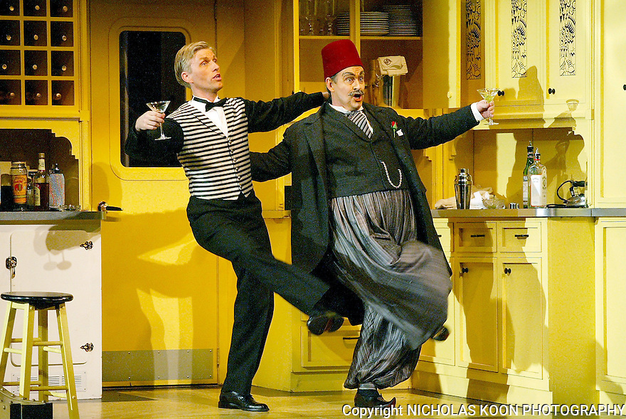 2003 - THE ABDUCTION FROM THE SERAGLIO - L to R - Pedrillo (Jeffrey Lentz) and Osmin (Kurt Link) dance during Opera Pacific's production of 'The Abduction from the Seraglio'.