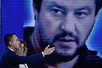 Roma, 23 Maggio 2019<br /> Luigi Di Maio davanti lo schermo con Matteo Salvini.<br /> il Movimento 5 Stelle a L'Aria Che Tira