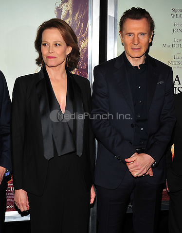 New York, NY: December 7: Sigourney Weaver, Liam Neeson attends 'A Monster Calls' New York Premiere at AMC Loews Lincoln Square 13 theater on December 7, 2016 in New York City.@John Palmer / Media Punch