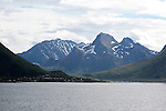 Mountain coastal scenery Hinnoya island, near Stokmarknes, Norway