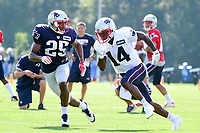 August 1, 2017: New England Patriots defensive back Eric Rowe (25) covers wide receiver Brandon Cooks (14) at the New England Patriots training camp held at Gillette Stadium, in Foxborough, Massachusetts. Eric Canha/CSM