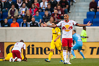 Thierry Henry (14) of the New York Red Bulls looks for a call. The New York Red Bulls and the Columbus Crew played to a 2-2 tie during a Major League Soccer (MLS) match at Red Bull Arena in Harrison, NJ, on May 26, 2013.