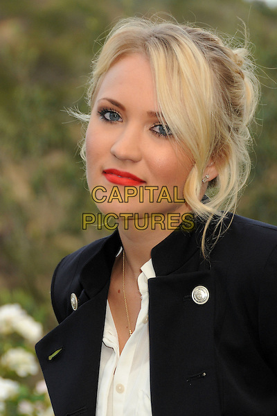 Emily Osment<br /> 6th Annual Oceana SeaChange Gala held at a Private Villa, Laguna Beach, California, USA. <br /> August 18th, 2013<br /> headshot portrait black jacket white top red lipstick <br /> CAP/ADM/BP<br /> &copy;Byron Purvis/AdMedia/Capital Pictures