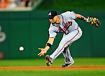 24 September 2010: Atlanta Braves infielder Omar Infante in action against the Washington Nationals at Nationals Park in Washington, DC. The Nationals defeated the Braves 8-3 to take the first game of their 3-game series. Mandatory Credit: Ed Wolfstein Photo