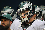 Philadelphia Eagles quarterback Carson Wentz (11) waits to run out onto the field before their game against the Seattle Seahawks at CenturyLink Field in Seattle, Washington on November 20, 2016.  Seahawks beat the Eagles 26-15.  ©2016. Jim Bryant Photo. All Rights Reserved.