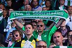 Stockholm 2013-06-23 Fotboll Superettan , Hammarby IF - &Auml;ngelholms FF :  <br /> Hammarby supporter h&aring;ller upp halsduk med texten This is S&ouml;derstadion efter att sista matchen p&aring; S&ouml;derstadion mellan Hammarby och &Auml;ngelholm spelats klart. <br /> (Foto: Kenta J&ouml;nsson) Nyckelord:  supporter fans publik supporters