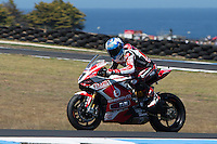 Carlos Checa (ESP) riding the Ducati Panigale 1199R (7) of the Team Ducati Alstare exits turn 10 during a practise session on day two of round one of the 2013 FIM World Superbike Championship at Phillip Island, Australia. rounds turn 11 during a practise session on day two of round one of the 2013 FIM World Superbike Championship at Phillip Island, Australia.