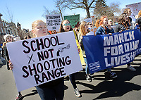 An estimated 3,000 people marched on Court Street near the  old Bucks County Courthouse to protest gun violence and to demand stronger gun control Saturday, March 24, 2018 during the March For Our Lives in Doylestown, Pennsylvania. (Photo By William Thomas Cain/Cain Images)