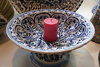 Talavera pottery candle holder from Puebla, Mexico, in the Museo de Arte Popular of Museum of Popular Art in Mexico City.