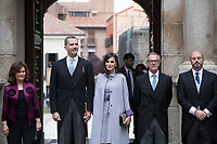 Kings of Spain, King Felipe VI of Spain and Queen Letizia of Spain delivers the Cervantes prize for literature in Spanish to the Uruguayan writer Ida Vitale at the Paraninfo of the Alcala University in the World Heritage City of Alcala de Henares near Madrid on April 23, 2019.<br /> From  L-R: Vice Prime Minister of Spain Carmen Calvo, King Felipe VI of Spain, Queen Letizia of Spain, Spanish Culture Minister Jose Guirau, Acting President of Madrid community Pedro Rollan