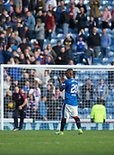 9th September 2017, Ibrox Park, Glasgow, Scotland; Scottish Premier League football, Rangers versus Dundee; Rangers' Alfredo Morelos applauds the home support at the end