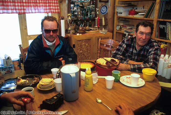 Ralph Canaster & Rick Swenson inside Eagle Iasland cabin during the 93 iditarod 1993