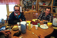Ralph Canaster & Rick Swenson inside Eagle Iasland cabin during the 93 iditarod 1993