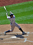 17 June 2012: New York Yankees outfielder Andruw Jones looses the grip on his bat in he 7th inning against the Washington Nationals at Nationals Park in Washington, DC. The Yankees defeated the Nationals 4-1 to sweep their 3-game series. Mandatory Credit: Ed Wolfstein Photo