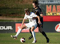 COLLEGE PARK, MD - NOVEMBER 03: Eric Matzelevich #15 of Maryland defends against Austin Swiech #12 of Michigan during a game between Michigan and Maryland at Ludwig Field on November 03, 2019 in College Park, Maryland.