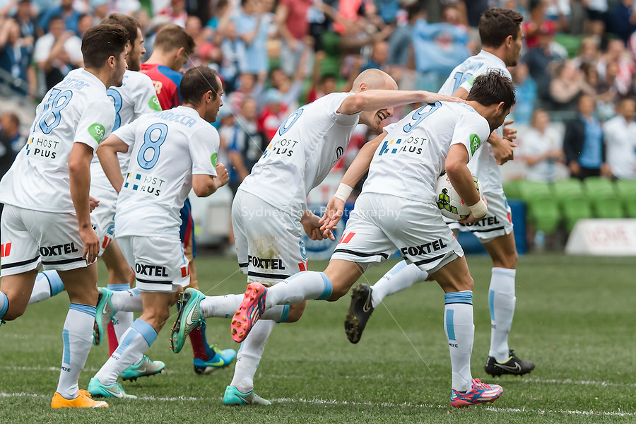 Spanish player David VILLA of Melbourne City celebrates his goal during the round 2 match between Melbourne City and Melbourne Victory in the Australian Hyundai A-League 2014-15 season at AAMI Park, Melbourne, Australia.