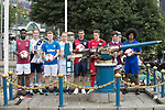 From Left to Right: West Ham United's Moses Makasi, Causeway Bay's Andrew Wylde, Glasgow Rangers' Max Ambrose, Olympique Marseille's Lucas Genty, Cagliari Calcio's Vasco Oliveira, Bayer Leverkusen's Joel Abu Hanna, Aston Villa's Harry McKirdy, and Leicester City's Hamza Dewan Choudhury  pose for a photograph near the Noon Day Gun to celebrate the launch of the HKFC Citi Soccer Sevens 2017 on 25 May 2017 in Causeway Bay, Hong Kong, China. Photo by Chris Wong / Power Sport Images