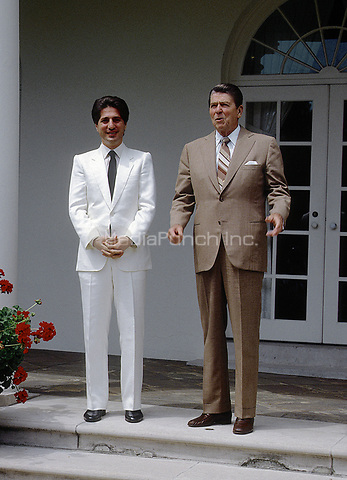 Washington, DC, USA, July 22, 1983<br /> President Ronald Reagan and President of Lebanon Amin Gemayel in the rose garden of the White House. Credit: Mark Reinstein/MediaPunch