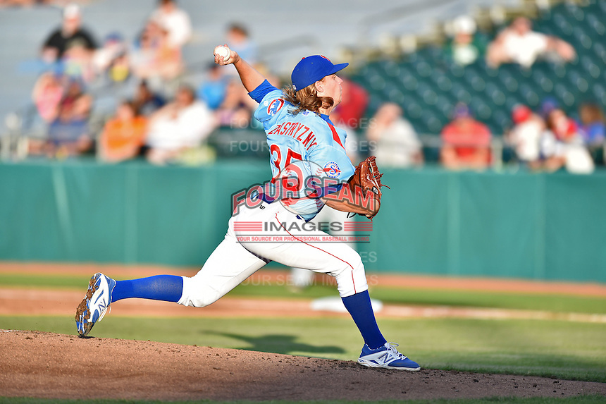 Tennessee Smokies starting pitcher Rob Zastryzny (35) delivers a pitch during a game against the Chattanooga Lookouts on April 25, 2015 in Kodak, Tennessee. The Smokies defeated the Lookouts 16-10. (Tony Farlow/Four Seam Images)